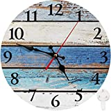 Britimes Round Wall Clock Silent Non-Ticking Clock 10 Inch, Vintage Farmhouse Wall Decorfor for Living Room, Kitchen, Bedroom, or Office Worn Blue