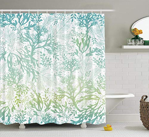 LILYMUA Ocean Shower Curtain Nautical Blue Green Sea Marine Seaweed Waterproof Polyester Waterproof Polyester Fabric Bathroom Shower Curtain Bathroom Decor Bath Curtain,72X78 Inch