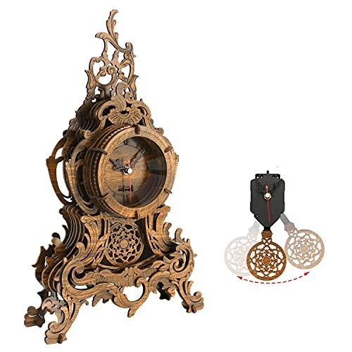 nicknack Reloj de Rompecabezas de Madera 3D para Adultos, Kits de Modelos Cortados con láser - Reloj de péndulo Barroco Grande, Oscuro