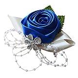 Arlai 1 pcs Wedding Bridesmaid Bride Wrist Corsage Decoration Hand Flower, Dark Blue