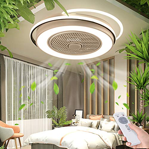 LED Deckenventilator Unsichtbares Fan Licht Einstellbar Modern Fan Deckenleuchte Mit Beleuchtung Schlafzimmer Deckenlampe Dimmbar Wohnzimmer Leuchte Mit Fernbedienung Leise Ventilator Kinderzimmer