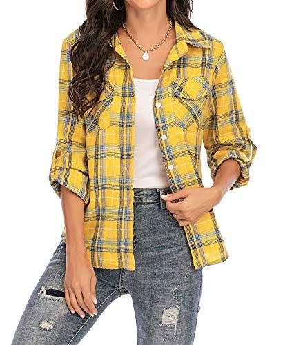 Enjoyoself Damen Langarm Karierte Bluse Baumwolle Flanellhemd Button Down Boyfriend Blusen für Alltag Oktoberfest Gelb,M