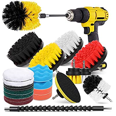 HIWARE 23 Pcs Drill Brush Attachment Set for Cleaning - Power Scrubber Brush Pad Sponge Kit with Extend Attachment for Bathroom, Car, Grout, Carpet, Floor, Tub, Shower, Tile, Corners, Kitchen