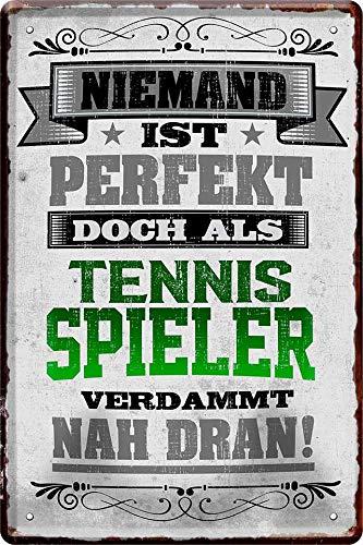 Blechschild Targa in Metallo Niemand è Perfetta, ma Come Giocatore di Tennis. 20 x 30 con Scritta Deko 657