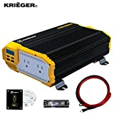 KRIËGER 1100 Watt 12V Power Inverter Dual 110V AC Outlets, Installation Kit...