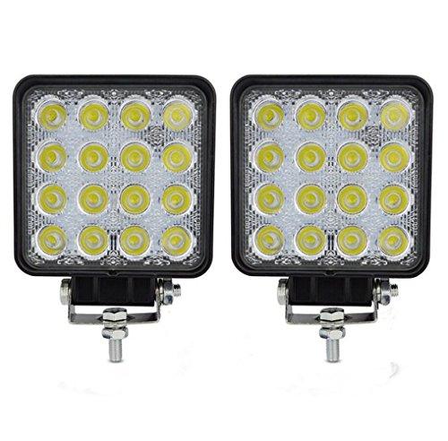 48W led feux de travail phare de voiture LED Drive Light LED Work spot de lumière 4 pouces carrés 3360 LM automobile lumière (48W Flood 2PCS)