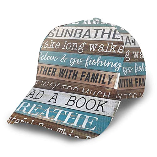 Gorra de béisbol curvada 3D Reglas del lago sobre letreros de madera con ala curvada ajustable Snapback gorras deporte papá sombrero camionero sombreros para hombres mujeres negro