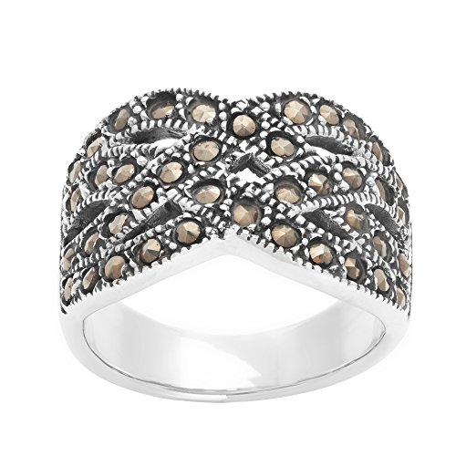 Silverly Women's .925 Sterling Silver Simulated Marcasite Art Deco Style Entwined Braided Ring