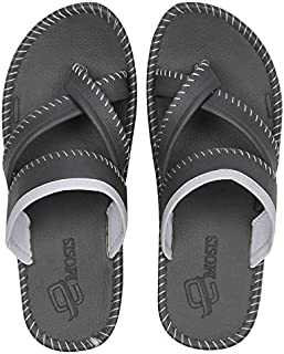 Emosis Men's Slipper Cum Sandal - Latest & Stylish Synthetic Leather - for Outdoor Formal Office Casual Ethnic Daily Use - Available in Blue Grey Black Color - 0220M