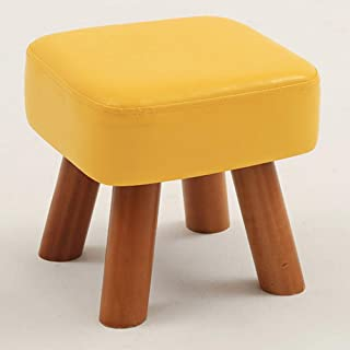 footstools ottomans Round Footrest stool Pouf,padded Foot Rest stool Pu Leather Wood Legs Small Chair Seat Couch-a 28x28x1...