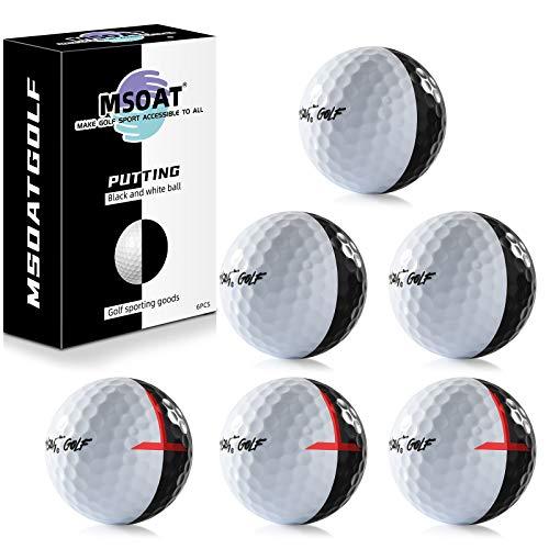 MSOAT 6 Kit de Bolas de Golf de Práctica, Dos Colores Negro-Blanco Pelotas de Golf Línea de Puntería Doble Capa Pelotas de práctica de Golf Accesorio de Entrenamiento
