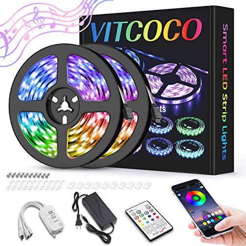 10M Bluetooth Tira LED, VITCOCO Tira LED 5050 RGB 10M(2×5M) de Impermeable Flexibles Multicolor 300 LEDs Strip Con Mando a Distancia y Adaptador Corriente Para TV/Fiestas