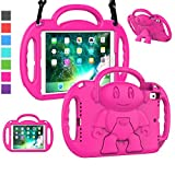 LTROP iPad 6th Generation Case for Kids, iPad 9.7 Case 2018/ 2017, iPad Air 2 Case - Shockproof Light Weight Shoulder Strap Handle Stand Kids Case for 9.7' iPad 6th Gen/ 5th Gen/ Air 2/ Air 1, Magenta