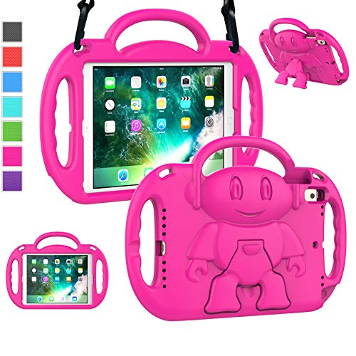 """LTROP iPad 6th Generation Case for Kids, iPad 9.7 Case 2018/ 2017, iPad Air 2 Case - Shockproof Light Weight Shoulder Strap Handle Stand Kids Case for 9.7"""" iPad 6th Gen/ 5th Gen/ Air 2/ Air 1, Magenta"""