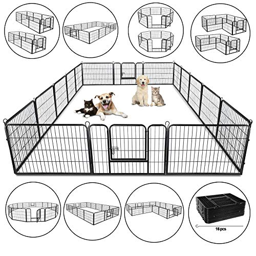 ZENY 31'' W x 24'' H Foldable Metal Exercise Pen & Pet Playpen Puppy Cat Exercise Fence Barrier...