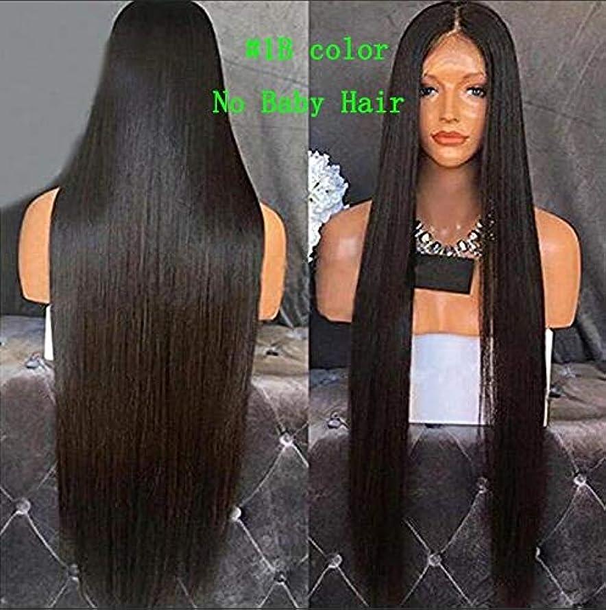 タオル二度拷問リザイ カリスマ性耐熱毛髪絹のような合成レースフロントかつらセクシーな女性フルかつらナチュラルカラー耐熱安いパーティーのためのかつら日常的なドレス高密度 (Color : 1B No Baby Hair, Stretched Length : 24inches)