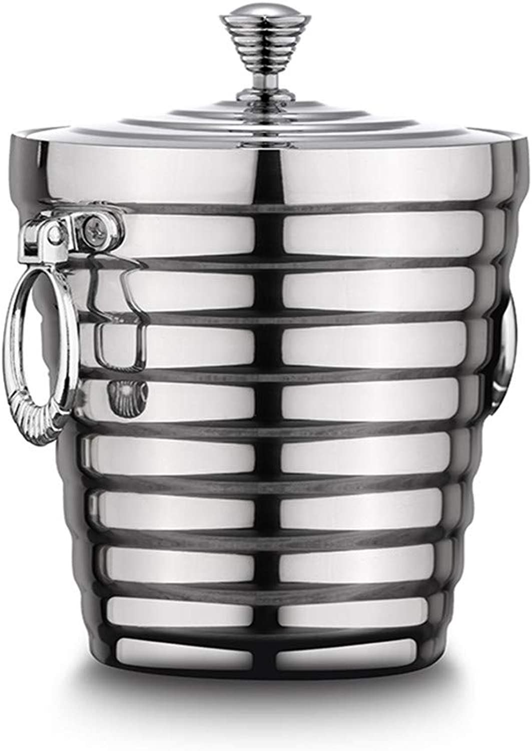 Stainless Steel Ice Bucket Set with Sealed Lid and Ice Pliers - Double Insulated Ice Bucket Non-Slip Seal Leakproof Mirror Polish Finish for Bar Camping,M