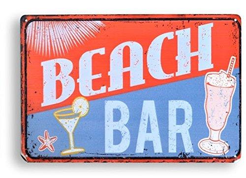 AVENUELAFAYETTE Cadre Tableau Plaque Murale métal Vintage rétro - American Food (Beach Bar)