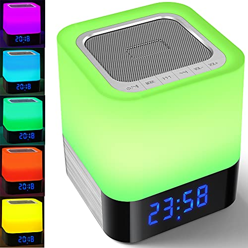 Bluetooth Speaker with Night Light, Bedroom Alarm Clock MP3 Player, Touch Control Bedside Lamp, Dimmable Multi-Color Changing, Gift Ideas for 10 11 12 13 14 Year Old Teenage Girls/Boys