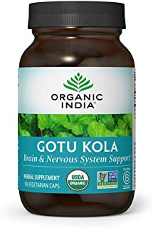 Organic India Gotu Kola Herbal Supplement - Adaptogen for Brain & Nervous System Support, Vegan, Gluten-Free, Kosher, USDA...