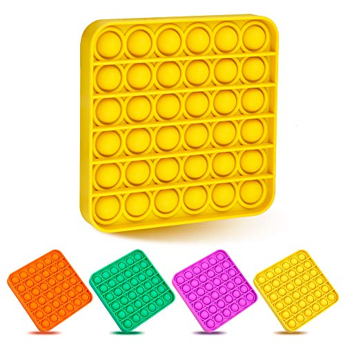 Livepuzzles Push Pop Bubble Fidget Sensory Toy, Stress Relief and Anti-Anxiety Tools for Kids and Adults, Sensory Irritability Toy for Autism with Special Needs to Relieve Stress (Square, Yellow)