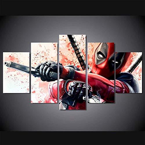 Yywife Leinwanddrucke Kreatives Geschenk 5 Stück Leinwand Bilder Moderne Wandbilder XXL Wohnzimmer Wohnkultur Aquarell Comic Deadpool 150X80 cm