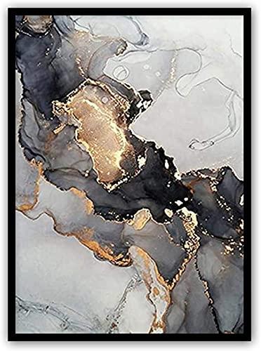 woejgo Cuadro moderno para decoración de salón con diseño de mármol negro y dorado, póster sobre lienzo abstracto de...