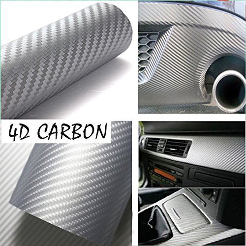 DIYAH 4D Silver Carbon Fiber Vinyl Wrap Sticker with Air Release Bubble Free Anti-Wrinkle 12 X 60 (1FT X 5FT)