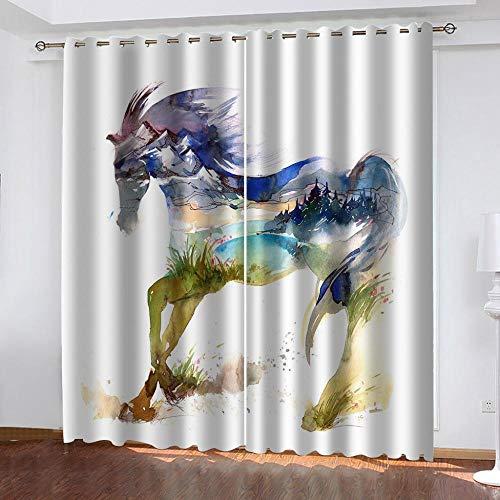PTBDWOSA Cortinas Salón Moderno - Cortinas Opacas Impresión Digital 3D Caballo Animal Creativo Adecuado para Dormitorio Sala De Estar Oficina Decoración 220(W) X215(H) Cm 2 Paneles