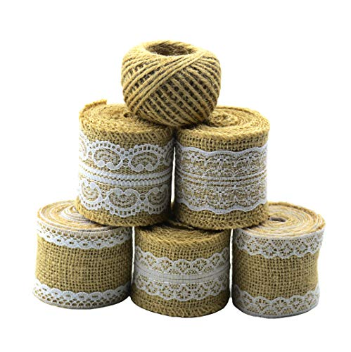 Aokbean 11 Yards/394 Inch Rustic Wedding Favor Jute Burlap Rolls Ribbon with White Lace Trims Tape Ribbon and 98 Feet Jute Twine(White)