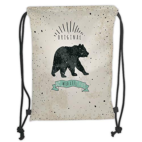 Fevthmii Drawstring Backpacks Bags,Bear,Vintage Wildlife Label Hunting Theme Icon with Random Dots Predator Paws Decorative,Tan Black Mint Green Soft Satin,5 Liter Capacity,Adjustable Strin