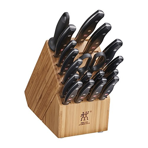 Zwilling J.A. Henckels Twin Signature Knife Set for Kitchen, 19-pc, Chef Knife, Professional Chef Knife Set, German Knife Set with Block, Light Brown