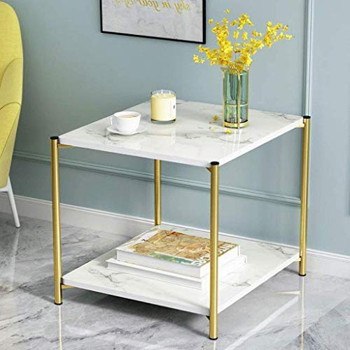 Coffee Table Chair Coffee Table Square Side Tables with Metal Legs Modern End Table with Storage Shelf for Living Room Bedroom Home Office (Color, Black),White