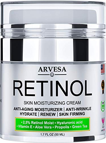 Retinol Moisturizer Cream for Face and Eye Area - Made in USA - with Hyaluronic Acid - Active...