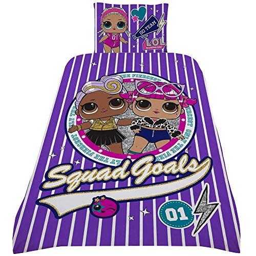 dreamtex L.O.L. Surprise ! Squad Goals Bettwäsche-Set für Einzelbett mit Kissenbezug L O L Surprise Wendedesign Fresh Fancy Confetti Pop LOL Bettwäsche Decke