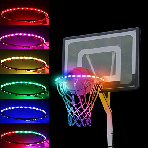 LED Basketball Hoop Lights Outdoors, 100 Lumen Waterproof Basketball Rim Strip Lights, Light Up Basketball Net, Illuminates Backboard for Playing Training Parties Sport Games at Night (Adults Version)