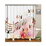 Beydodo Vintage Duschvorhang 150x200 cm Musik Note Schmetterling Blumen Antischimmel Wasserdicht Duschvorhang