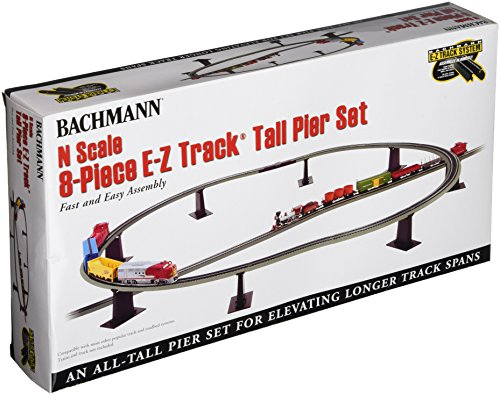 Bachmann Trains - Snap-Fit E-Z TRACK 8 PC. E-Z TRACK TALL PIER SET - NICKEL SILVER Rail With Grey Roadbed - N Scale