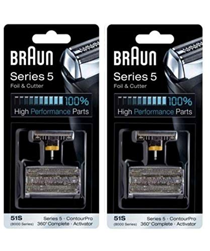 Braun All-New-Value Pack Series 5 Combi 51s Foil And Cutter Replacement (Formerly 8000 360 Complete Or Activator), New Jumbo Size Value Pack 2-Count
