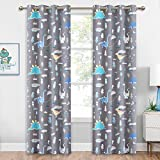 KGORGE Cartoon Animal Kids Curtains - Room Darkening Light UV Block Grommet Curtain Drapes Washable Panels for Bedroom Living Room Playroom Baby Nursery, Grey, Wide 52 x Long 84 inch, 1 Pair