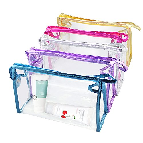 Meetory 5 Pcs Transparent Waterproof Cosmetic Bag,PVC Clear Vinyl Zippered Makeup Pouch Vacation, Bathroom and Organizing Bag Travel Set