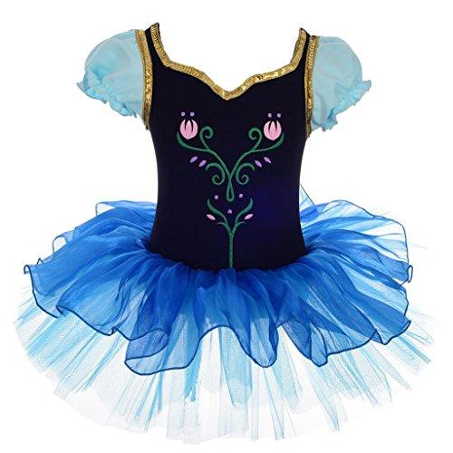 Lito Angels Frozen Anna Kostüm Stickerei Tulpe Ballett Tütü Ballettkleid Tanzbekleidung Verrücktes Kleid 3-4 Jahre Mehrfarbig