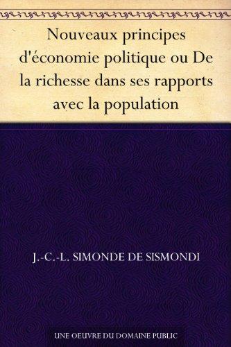 Couverture du livre Nouveaux principes d'économie politique ou De la richesse dans ses rapports avec la population
