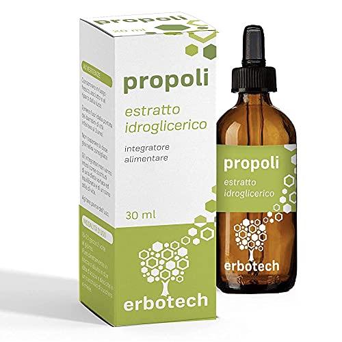 ERBOTECH Propolis met druppelaar van 30 ml, Moedertinctuur, puur extract, geschikt voor KINDEREN, natuurlijke remedie tegen keelpijn, draagt bij aan het welzijn van de luchtwegen, Made in Italy