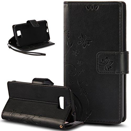 Galaxy Note 4 Case,Galaxy Note 4 Wallet Case,NSSTAR Butterfly Flower PU...