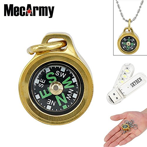 MecArmy CMP Compass Waterproof Hiking Military Navigation EDC Compass, Designed for Everyday Carry with Chain with SKYBEN USB Light (Brass)