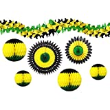 7-piece Complete Jamaican Honeycomb Party Decoration Set (Black/Yellow/Green)