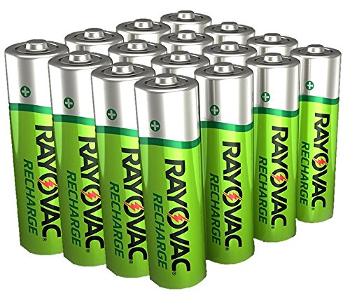16 x Rayovac AA Recharge 1350mAh Rechargable NiMH Batteries w/Free Battery Holders (16 AA Batteries) Packaging May Vary