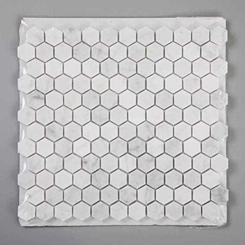 Diflart Carrara - Mosaico Hexagonal de mármol Blanco Carrera de 1 Pulgada con 5 Hojas/Caja