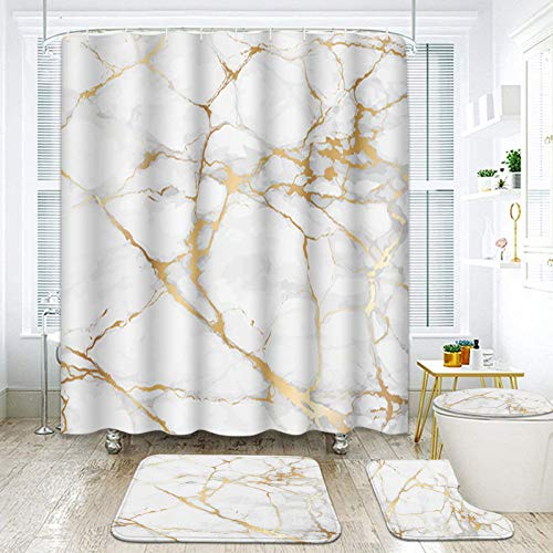 ArtSocket 4 Pcs Shower Curtain Set Marble Gold White Black Geometric Rose Stone Abstract Modern Vintage White Golden with Non-Slip Rugs Toilet Lid Cover and Bath Mat Bathroom Decor Set 72' x 72'